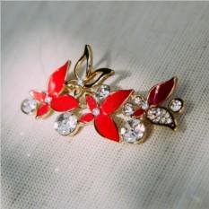 Брошь красная эмаль с белыми кристаллами Флора