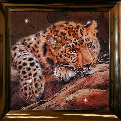 Картина с кристаллами Swarovski Леопард