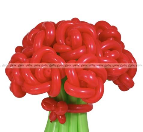 Розы красные большой букет из шаров - 15 штук