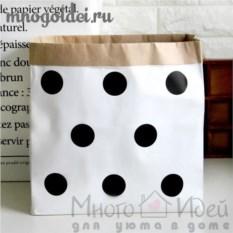 Эко-мешок для игрушек из крафт бумаги В горошек