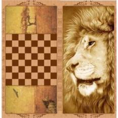 Средние нарды в деревянном коробе Лев