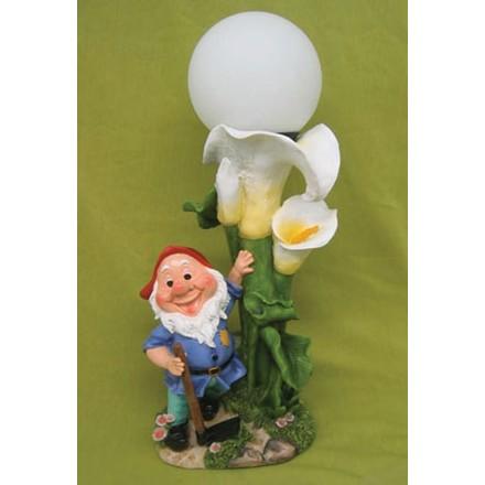 Лампа солнечная Гном и лилии