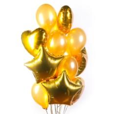 Большое облако золотых шариков с сердечками и звездами