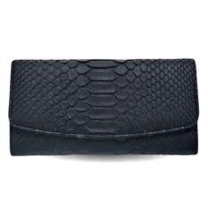 Черный женский трехскладной кошелек из матовой кожи питона