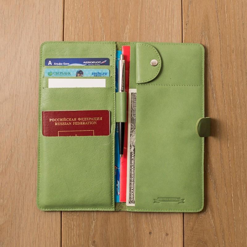 Кожаный зеленый холдер для документов Hyper Keeper