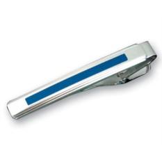 Матовый зажим для галстука с синей вставкой Caseti