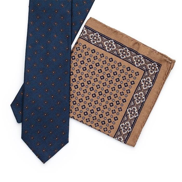 Галстук Fumagalli из шёлка, с квадратным узором, синий
