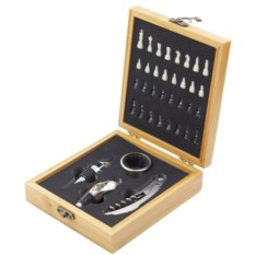 Подарочный набор для вина в футляре из бамбука Шахматы