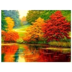 Картина-раскраска по номерам на холсте Красота осени