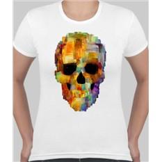 Женская футболка Череп, пиксели