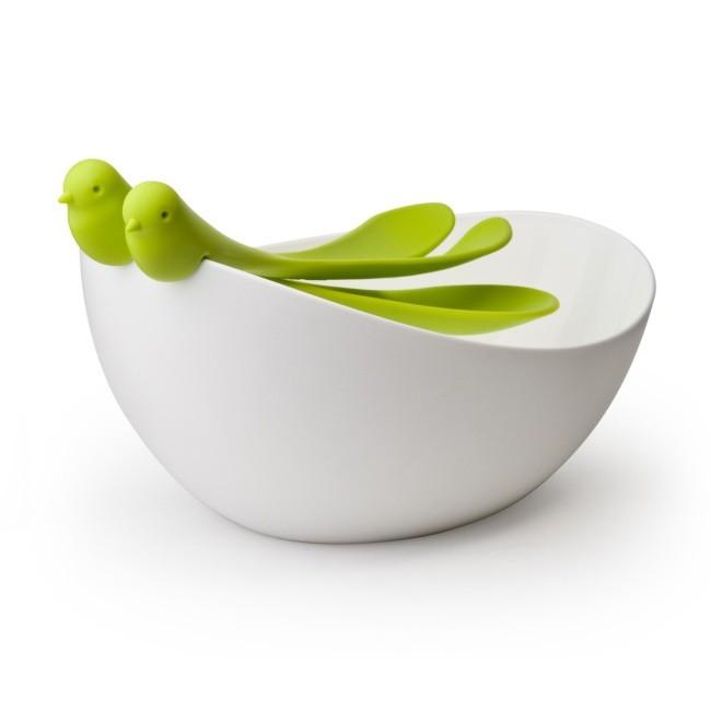 Салатная миска с ложками Птицы зеленый+ белый
