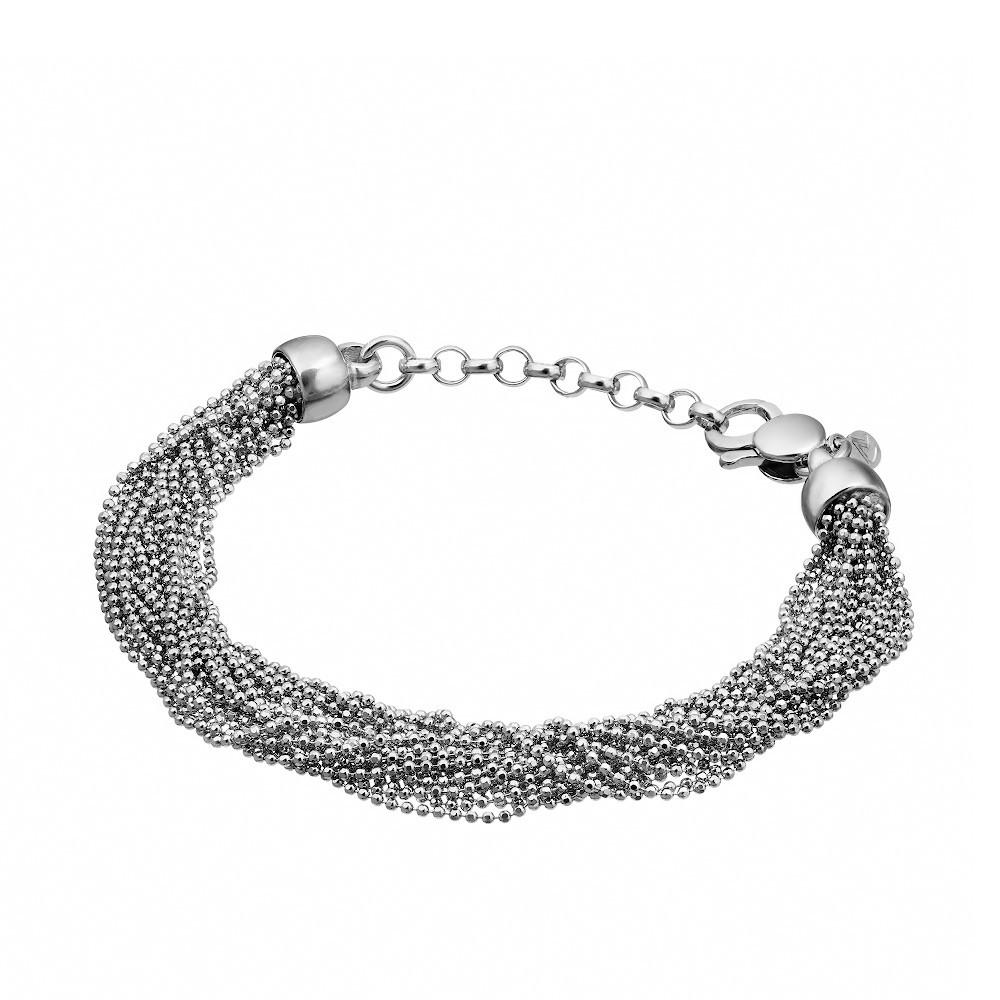 Женский серебряный браслет из множества цепочек