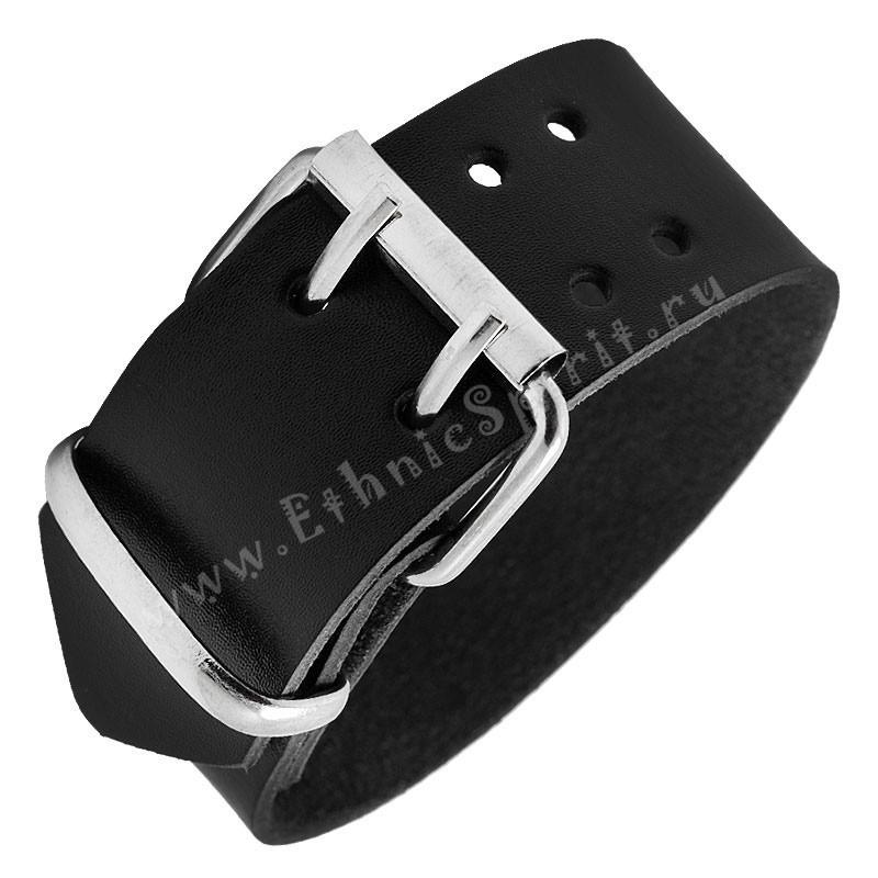 Кожаный черный браслет стилизованный под ремень