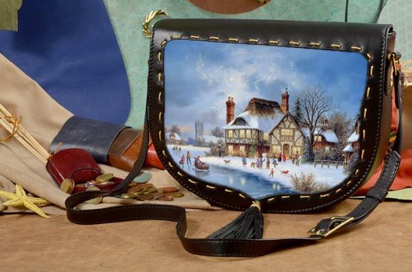 Женская сумка-седло Зимние забавы