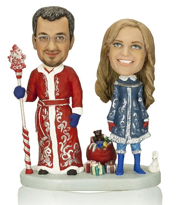 Статуэтка по фото Снегурочка и Дед мороз «Морозная парочка»