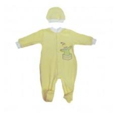 Желтый велюровый комбинезон и шапочка