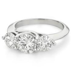 Кольцо из белого золота с тремя камнями Wanda