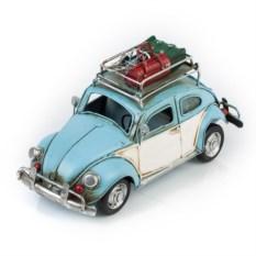 Модель голубого ретро-автомобиля с фоторамкой и копилкой