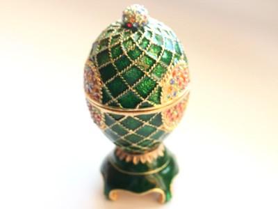 Шкатулка со стразами Пасхальное яйцо, зеленое