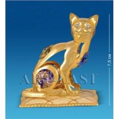 Фигурка с цветными кристаллами Swarovski Кошка на подушке