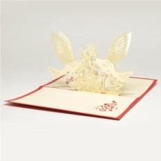 Объемная 3D открытка Голуби и цветы