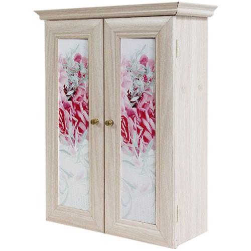 Декоративный настенный шкафчик Кашпо с цветами беж