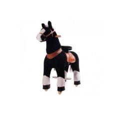 Детская механическая каталка Чёрная лошадка белое копытце