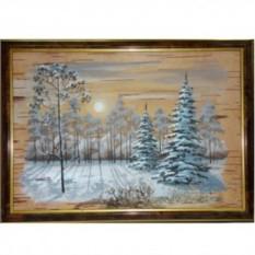 Объёмная картина на бересте Зимний лес