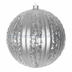 Елочная игрушка Полосатый шар серебряного цвета