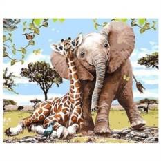 Картина-раскраска по номерам на холсте В Африке