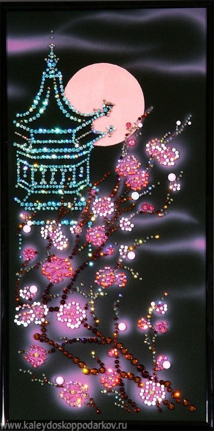 Картина с кристаллами Swarovski Погода с сакурой
