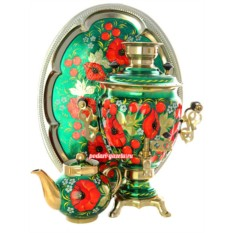 Набор для чаепития Маки на зеленом фоне