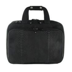 Черна матовая сумка для ноутбука из кожи питона