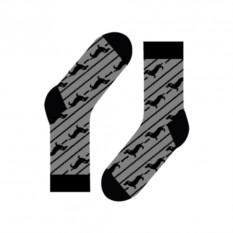 Носки Dachshund and stripes (цвет — черный)