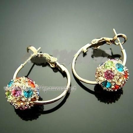 Серьги Шарики Разноцветные с кристаллами Swarovski