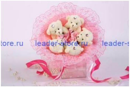 Букет из игрушек Мишки зефирки в розовом