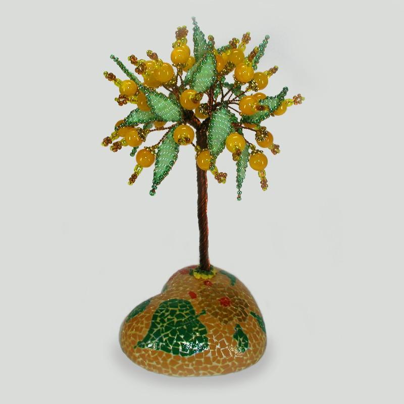 Дерево счастья из опала на сфере, расписанной вручную