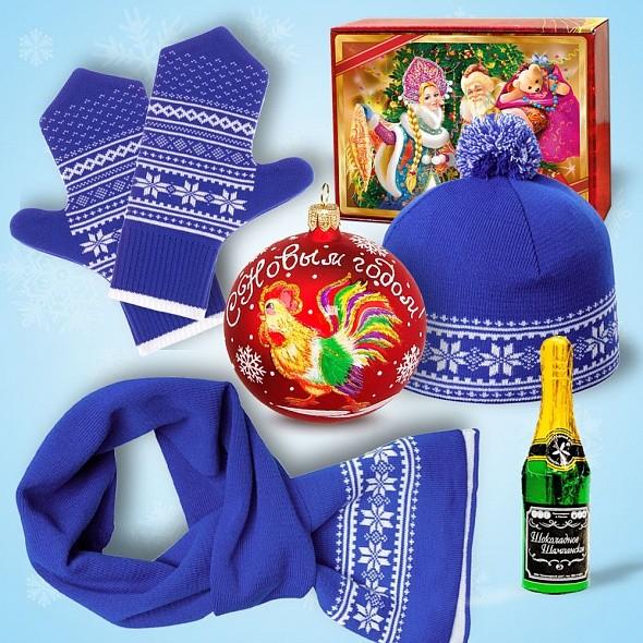 Набор «Зимние узоры» (синие шарф, шапка, варежки)