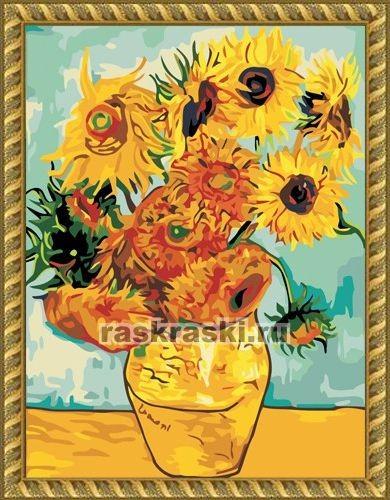 Раскраска по номерам Menglei Подсолнухи, Ван Гог