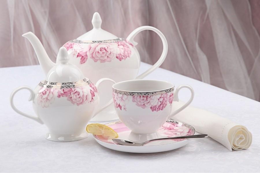 Чайный фарфоровый сервиз Пион на 15 предметов