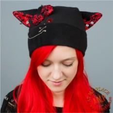 Черная шапка с красными ушками Панк