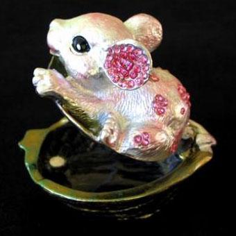 Шкатулка со стразами Мышка