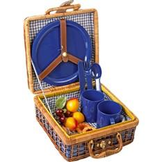 Корзина для пикника Мини на четверых с синей пластиковой посудой