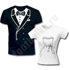 Парные футболки Свадебные, с черным фраком