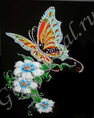 Картина со стразами Бабочка и белые цветы