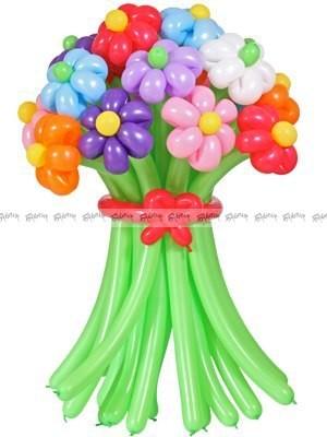 Разноцветные ромашки средний букет из шаров - 11 штук