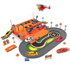 Игровой набор Гараж, 3 машины и вертолет