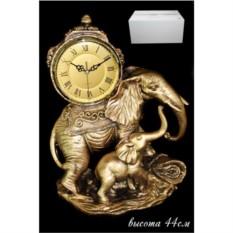 Декоративные настольные часы с фигурками слона и слоненка