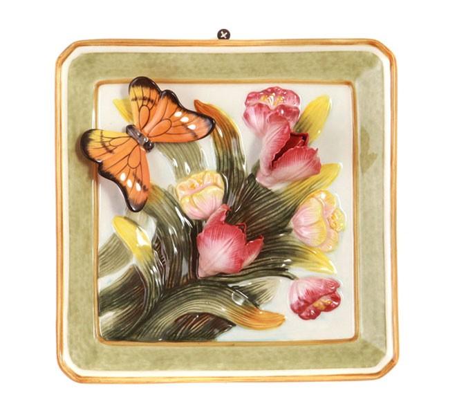 Тарелка декоративная «Бабочка на цветах»