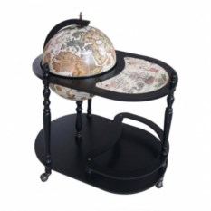 Черный напольный глобус-бар со столиком